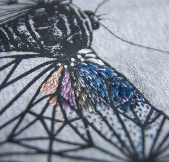 Broderi på tryk, embroidery, screenprint