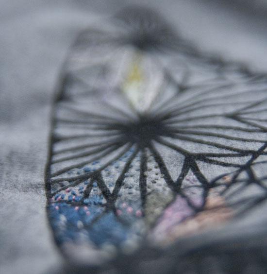 Natsværmer, brodei og tryk, embroidery, scareenprint