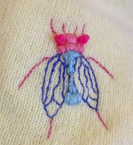 Broderet flue