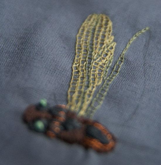 åbne kædesting, stigesting, insektbroderi, embroidery