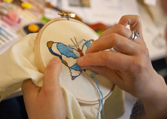 insektbroderi, broderi workshop