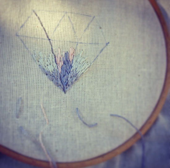 Diamant, broderi, embroidery, fladsting